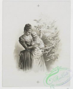 prang_cards_black-and-white-00476 - 1009-Cards entitled 'Pency's surprise,' 'Christmas song,' 'my Christmas fete' and 'baby's first Christmas,' depicting a vase of flowers, children reading,  100021