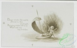 prang_cards_black-and-white-00481 - 1013-Kind wishes for each day- cards with text about the days of the week, depicting outdoor scenes, a fairy paddling a mushroom and leaf boat, children  100051