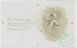 prang_cards_black-and-white-00482 - 1013-Kind wishes for each day- cards with text about the days of the week, depicting outdoor scenes, a fairy paddling a mushroom and leaf boat, children  100052