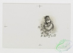 prang_cards_black-and-white-00490 - 1014-Three pussy cats- cards depicting cats, girls, flowers, yarn, pussy willow and mice 100063