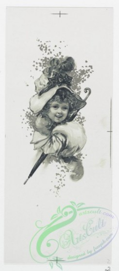 prang_cards_black-and-white-00506 - 1039-Mayflower, Easter Lilies, Bunch of Daffodils (Easter cards depicting flowers, Christmas cards depicting young girl with umbrella) 100135
