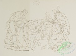 prang_cards_black-and-white-00530 - 1123-Pictures from the life of Christ, outlines - The birth of Jesus , The adoration of the magi , The flight into Egypt , Jesus in the temple 100433