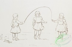 prang_cards_black-and-white-00538 - 1129-Outline prints depicting children jumping rope, feeding chickens and holding back a dog 100456