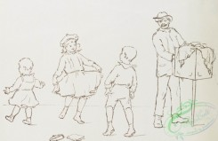 prang_cards_black-and-white-00539 - 1129-Outline prints depicting children jumping rope, feeding chickens and holding back a dog 100457