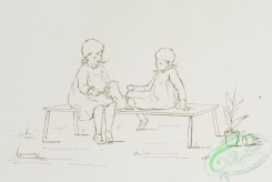 prang_cards_black-and-white-00548 - 1153-Outlines depicting children- playing with a puppy, feeding chickens, feeding each other, crying and comforting 100543
