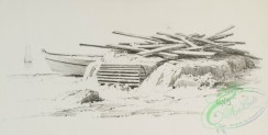 prang_cards_black-and-white-00566 - 1235-Pencil drawings 3 (depicting the beach, driftwood pile, boats and buildings) 100955