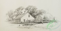 prang_cards_black-and-white-00577 - 1237-Pencil drawings 3 (depicting the ocean, sailboats, houses, trees, a woman on a road and farming equipment) 100966