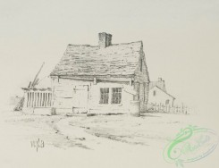 prang_cards_black-and-white-00591 - 1240-Landscape Drawing 2 (cards depicting houses, wood structures, gates, fences, a log, an axe, trees, buckets) 100980