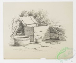 prang_cards_black-and-white-00593 - 1240-Landscape Drawing 2 (cards depicting houses, wood structures, gates, fences, a log, an axe, trees, buckets) 100982