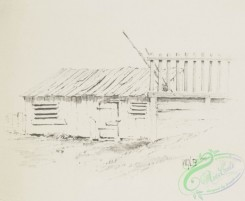 prang_cards_black-and-white-00598 - 1241-Landscape drawing 2 (cards depicting houses, fences, gates, roads, docks and sheds) 100987