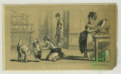 prang_cards_black-and-white-00623 - 1288-Trade cards depicting women cleaning items with Sapolio cleaning product 101090