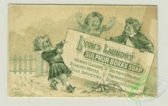prang_cards_black-and-white-00625 - 1330-Trade cards depicting butterflies, children and adults posting signs for sulphur borax soap 101261