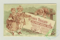 prang_cards_black-and-white-00626 - 1330-Trade cards depicting butterflies, children and adults posting signs for sulphur borax soap 101262