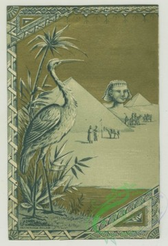 prang_cards_black-and-white-00633 - 1397-Trade cards depicting horse riding, hunting dogs, fence, crane, pyramids, sphinx, curtain and a woman in a flowing dress 101594