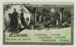 prang_cards_black-and-white-00634 - 1403-Trade cards depicting flowers, fish, ships, a couple riding horses, moonlit Pompeii, columns, frogs dressed in clothes with a cane and gun 101642
