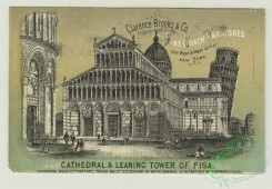 prang_cards_black-and-white-00638 - 1406-Trade cards depicting St. Peter's Cathedral, Leaning Tower of Pisa, Cathedral at Milan, a boy with a gun walking on stilts in a marsh, a boy drinking  101662