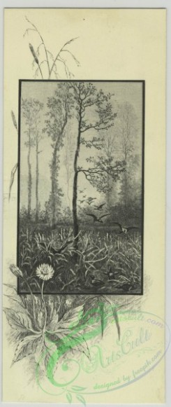 prang_cards_black-and-white-00645 - 1474-Trade cards depicting landscapes, babies sitting on tree limbs with birds - eating berries, painting, lighting a fire in the snow and using a ragged 101981
