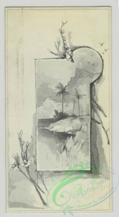 prang_cards_black-and-white-00653 - 1507-(A calendar and trade cards depicting landscapes of a river and ocean, monkeys painting shoes and using shoes as - a chair, highchair and flower con 102131