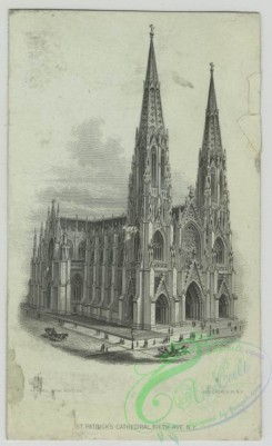 prang_cards_black-and-white-00662 - 1528-Trade cards depicting St. Patrick's Cathedral, landscape views of a meadow, bridge and river, boys dressed in costume doing acrobatics and paddling a  102229