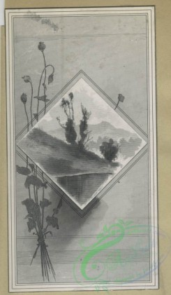 prang_cards_black-and-white-00673 - 1622-Trade cards depicting flowers, landscapes, winter, spring, birds, pottery, a shoe vase, and a dog wearing a hat and glasses 102650