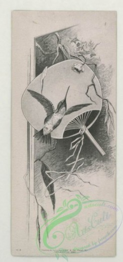 prang_cards_black-and-white-00687 - 1744-Trade cards depicting flowers a fan, a hummingbird and a sinking ship 103438