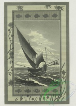 prang_cards_black-and-white-00711 - 1766-Trade cards depicting flowers, insects, a sailboat, a waiter and statuary of a woman and the cross 103558