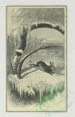 prang_cards_black-and-white-00719 - 1774-Trade cards depicting miniature woodland people, bees, birds, insects, a rabbit, flowers, trees, snow and a net 103606
