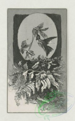 prang_cards_black-and-white-00721 - 1774-Trade cards depicting miniature woodland people, bees, birds, insects, a rabbit, flowers, trees, snow and a net 103608