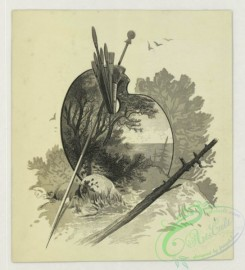 prang_cards_black-and-white-00726 - 1778-Trade cards depicting birds, flowers, boys, a duck, chicks, a dog, a rabbit, trees, a painting palette, wallpaper and birch bark 103632