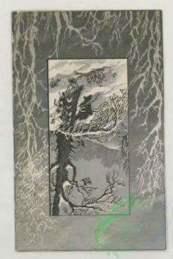 prang_cards_black-and-white-00748 - 1792-Trade cards depicting children, snow, a dog, a cat, mountains, the moon, a boat, flies, a flower and a figure , cigarette cards entitled 'between the  103718