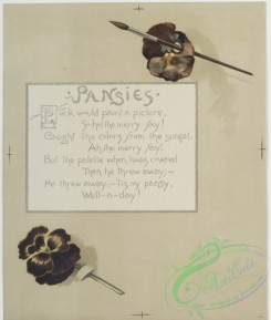 prang_cards_botanicals-00161 - 0854-Flower fancies-calendar with text, depicting pansies, a paintbrush and butterflies 108033