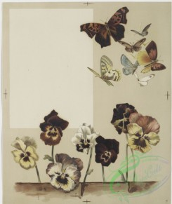 prang_cards_botanicals-00162 - 0854-Flower fancies-calendar with text, depicting pansies, a paintbrush and butterflies 108034