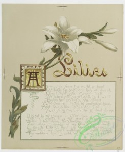 prang_cards_botanicals-00171 - 0860-Flower fancies-calendar with text, depicting lilies and daffodils 108062
