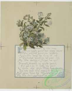 prang_cards_botanicals-00174 - 0861-Flower fancies-calendar with text, depicting flowers including forget-me-nots 108065