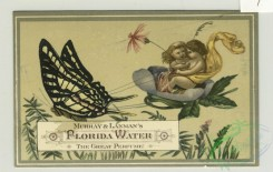 prang_cards_butterflies-00042 - 1351-Trade cards depicting fairies, butterflies, angels, flowers, leaves, lily pads, flowers, a ladybug, a bottle, the earth, a fan and an acrobat writing 101319