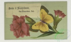 prang_cards_butterflies-00061 - 1770-Trade cards depicting flowers, butterflies and a portrait of a woman holding a flower 103582