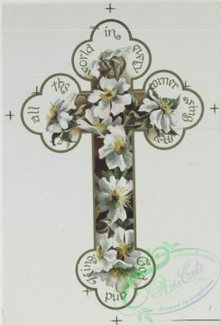 prang_cards_holidays-00132 - 0661-Easter cards with decorative crosses, Valentines and birthday cards depicting flowers-'Tulips and Pinks' and 'Snowballs and Pinks' 107178