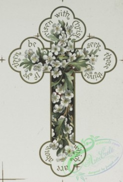 prang_cards_holidays-00134 - 0661-Easter cards with decorative crosses, Valentines and birthday cards depicting flowers-'Tulips and Pinks' and 'Snowballs and Pinks' 107180