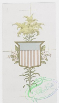 prang_cards_holidays-00146 - 0845-Our National Flowers. (Depictions of flowers with coat of arms.) 107988