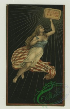 prang_cards_holidays-00167 - 1316-Trade cards and calendars depicting a women holding soap in a patriotic outfit, emanating light, thread, kites, acrobatics, carriage race, Asians, sew 101193