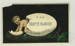 prang_cards_holidays-00168 - 1319-Trade cards depicting a boy or cherub doing various activities with a white sign-hatching from an egg, walking on hands, jumping over a rope, worn 101207