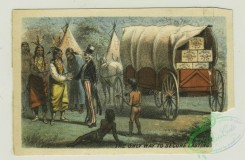 prang_cards_holidays-00171 - 1342-Trade cards entitled 'Off Coney Island' and 'On the road to Coney Island', depicting a sailboat, a train ride, Uncle Sam bringing Native Americans a w 101298