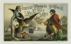 prang_cards_holidays-00172 - 1357-Trade cards depicting men carrying boxes of Sea Foam, boys playing with a toy sailboat made from a box, an eagle, a lion, sailors and passengers onboa 101361