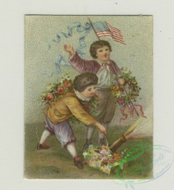 prang_cards_holidays-00173 - 1361-Trade cards depicting children laying in the grass, a horse race, a lamb, an American flag and children watering flowers 101392