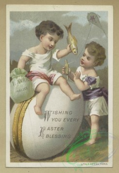 prang_cards_holidays-00181 - 1633-Easter and trade cards depicting flowers, shoes, children, angels, eggs, toys, a kite, a fish, a bicycle and a rabbit 102722