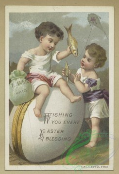 prang_cards_holidays-00183 - 1633-Easter and trade cards depicting flowers, shoes, children, angels, eggs, toys, a kite, a fish, a bicycle and a rabbit 102725