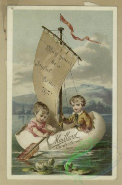 prang_cards_holidays-00185 - 1634-Easter and trade cards depicting women, children, birds, eggs, thread, a birdcage and a boat made from an egg 102730