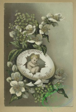 prang_cards_holidays-00186 - 1674-Trade cards depicting, babies, figures, flies, bees, a lily, a cracked egg, a bird eating a cracker, a butterfly net, a frog jumping through a ring 102988