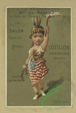 prang_cards_holidays-00190 - 1702-Trade cards depicting men, women, soldiers, rugs, vases, drums, a gun, an American flag skirt, telephone poles and lines, the Herault and Gard departm 103230