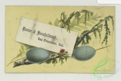 prang_cards_holidays-00195 - 1787-Trade cards depicting a bird, eggs, nests, insects, flowers, frogs, the moon and a scenic view 103680